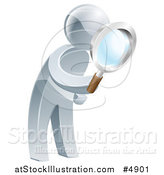 Vector Illustration of a 3d Silver Man Searching with a Magnifying Glass by AtStockIllustration