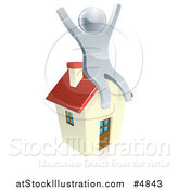 Vector Illustration of a 3d Silver Man Sitting and Cheering on a House by AtStockIllustration