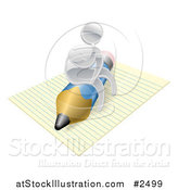 Vector Illustration of a 3d Silver Man Thinking and Sitting on a Pencil and Notepad by AtStockIllustration