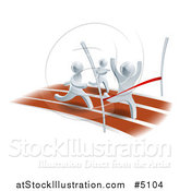 Vector Illustration of a 3d Silver Man Winning a Race by AtStockIllustration