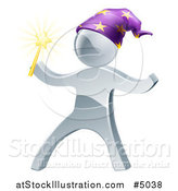 Vector Illustration of a 3d Silver Man Wizard by AtStockIllustration