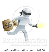 Vector Illustration of a 3d Silver Masked Robber Running with a Money Bag and Flashlight by AtStockIllustration