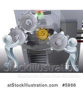 Vector Illustration of a 3d Silver Men Adjusting Gear Cogs on a Machine by AtStockIllustration