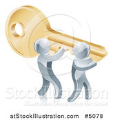 Vector Illustration of a 3d Silver Men Carrying a Giant Key to Success by AtStockIllustration