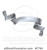 Vector Illustration of a 3d Silver Metal Scroll Ribbon Banner by AtStockIllustration
