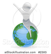 Vector Illustration of a 3d Silver Person Celebrating on Top of the World by AtStockIllustration
