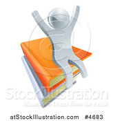 Vector Illustration of a 3d Silver Person Cheering and Sitting on a Stack of Books by AtStockIllustration