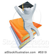 Vector Illustration of a 3d Silver Person Graduate Cheering and Sitting on a Stack of Books by AtStockIllustration