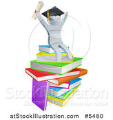 Vector Illustration of a 3d Silver Person Graduate Cheering, Holding a Diploma and Sitting on a Stack of Books by AtStockIllustration