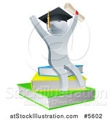 Vector Illustration of a 3d Silver Person Graduate Cheering with a Diploma and Sitting on a Stack of Books by AtStockIllustration