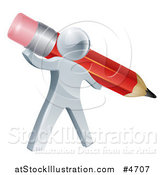 Vector Illustration of a 3d Silver Person Holding a Giant Red Pencil by AtStockIllustration
