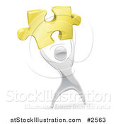 Vector Illustration of a 3d Silver Person Holding up a Gold Puzzle Piece by AtStockIllustration