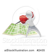 Vector Illustration of a 3d Silver Person Pinning a Location on a Map by AtStockIllustration