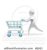 Vector Illustration of a 3d Silver Person Pushing a Shopping Cart by AtStockIllustration