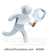 Vector Illustration of a 3d Silver Person Searching with a Magnifying Glass by AtStockIllustration
