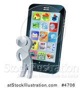 Vector Illustration of a 3d Silver Person Thinking and Looking at App Icons on a Giant Smart Phone by AtStockIllustration