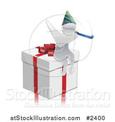 Vector Illustration of a 3d Silver Person Wearing a Party Hat on a Gift Box by AtStockIllustration