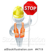 Vector Illustration of a 3d Silver Road Construction Worker Man Holding a Stop Sign by AtStockIllustration