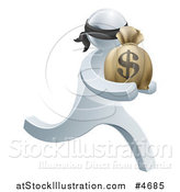 Vector Illustration of a 3d Silver Robber Carrying a Money Bag by AtStockIllustration