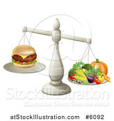 Vector Illustration of a 3d Silver Scale Comparing a Cheeseburger As Better Than Produce by AtStockIllustration