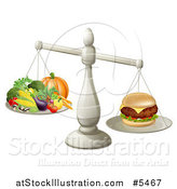 Vector Illustration of a 3d Silver Scale Comparing a Cheeseburger to Produce by AtStockIllustration