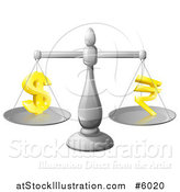 Vector Illustration of a 3d Silver Scale Comparing Dollar and Rupee Symbols by AtStockIllustration