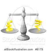 Vector Illustration of a 3d Silver Scale Comparing Pound and Rupee Symbols by AtStockIllustration