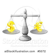 Vector Illustration of a 3d Silver Scale Weighing Golden Dollar and Euro Symbols by AtStockIllustration