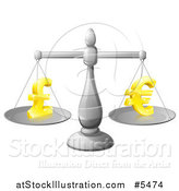 Vector Illustration of a 3d Silver Scale Weighing Golden Pound and Euro Symbols by AtStockIllustration