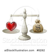 Vector Illustration of a 3d Silver Scale Weighing Love and a Money Bag by AtStockIllustration