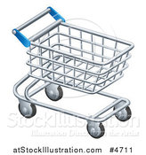 Vector Illustration of a 3d Silver Shopping Cart by AtStockIllustration