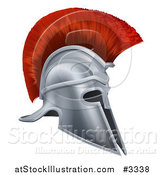 Vector Illustration of a 3d Silver Trojan Spartan Helmet with a Red Mohawk by AtStockIllustration