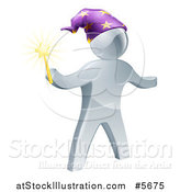 Vector Illustration of a 3d Silver Wizard Holding a Star Wand by AtStockIllustration