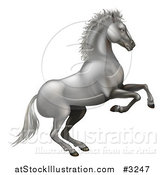 Vector Illustration of a 3d Silvery White Horse Rearing by AtStockIllustration