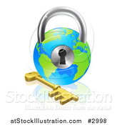 Vector Illustration of a 3d Skeleton Key and Globe Padlock by AtStockIllustration
