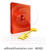 Vector Illustration of a 3d Skeleton Key and Padlock Book by AtStockIllustration