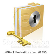 Vector Illustration of a 3d Skeleton Key by Locked Secure Folders with a Key Hole by AtStockIllustration