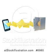 Vector Illustration of a 3d Smart Cell Phone Doing a Secure Data Transfer Backup to a Safe Vault by AtStockIllustration