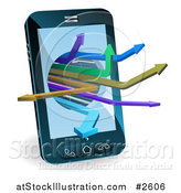 Vector Illustration of a 3d Smart Cell Phone with Arrows Emerging by AtStockIllustration