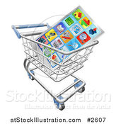 Vector Illustration of a 3d Smart Phone and Apps in a Shopping Cart by AtStockIllustration