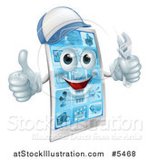 Vector Illustration of a 3d Smart Phone Character Wearing a Hat, Holding a Thumb up and a Wrench by AtStockIllustration