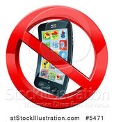 Vector Illustration of a 3d Smart Phone in a Restricted Symbol by AtStockIllustration