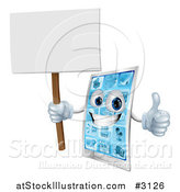 Vector Illustration of a 3d Smart Phone Mascot Holding a Thumb up and a Blank Sign by AtStockIllustration