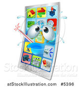 Vector Illustration of a 3d Smart Phone Sick with a Fever by AtStockIllustration