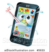 Vector Illustration of a 3d Smart Phone Sick with a Malware Fever by AtStockIllustration
