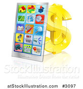 Vector Illustration of a 3d Smart Phone with App Icons Leaning Against a Gold Dollar Symbol by AtStockIllustration