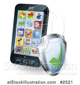 Vector Illustration of a 3d Smart Phone with Apps and a Shield by AtStockIllustration