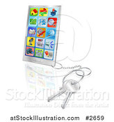 Vector Illustration of a 3d Smart Phone with Apps and Attached Keys by AtStockIllustration
