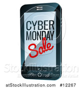 Vector Illustration of a 3d Smart Phone with Cyber Monday Sale Text on the Screen by AtStockIllustration