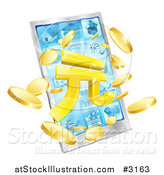 Vector Illustration of a 3d Smart Phone with Yuan and Coins Bursting from the Screen by AtStockIllustration